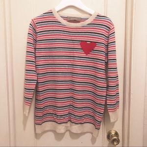 100% Cashmere Striped Heart Pullover Sweater